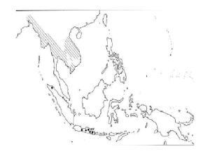 Distriution of Mus cervicolor in Southeast Asia